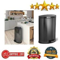 HomeZone 45 L Black Stainless Steel Semi Round Kitchen Trash