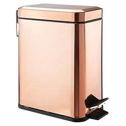 mDesign 5 Liter Rectangular Small Steel Step Trash Can Waste