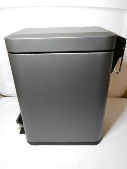 mDesign 5 Liter Rectangular Small Steel Step Trash Can, Remo