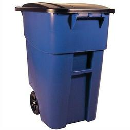 50 Gallon Blue Commercial Heavy-Duty Rollout Trash Can Waste