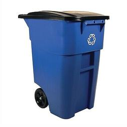 50 Gallon Blue Commercial Heavy-Duty Rollout Recycler Trash