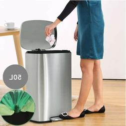 50L Step on Trash Can Stainless Steel Garbage Bin for Office