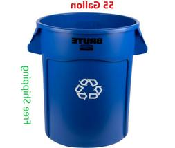 55 Gallon Bin Trash Can, Blue, No Lid, Rubbermaid Brute Recy
