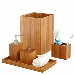 5Pc Bathroom Set Bamboo Trash Can Soap Dispenser Toothbrush