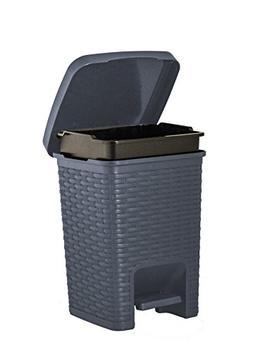 Superio Square Pedal Trash Can, Rattan Style, 7.5 Qt