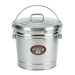 6 Gal. Galvanized Steel Round Trash Can With Locking Lid