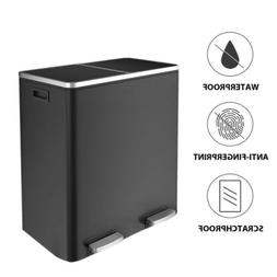 60 L Stainless Steel Step Trash Can & Recycle Bin Dual for R