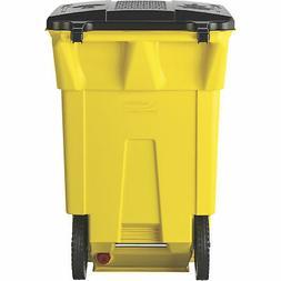 Suncast 65-Gallon Wheeled Trash Can - Yellow, Model# BMTCW65