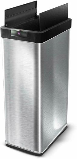 HomeZone 68 L Stainless Steel Sensor Trash Can 18 Gallon Tou