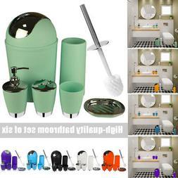 6pcs Bathroom Accessories Set Toilet Brush Trash Can Toothbr