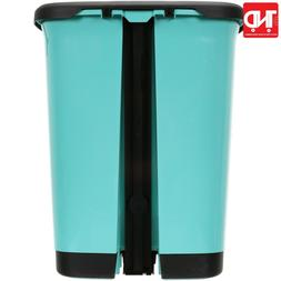 7 Gal Textured Step-On Trash Can with Lid Lock and Bottom Ca