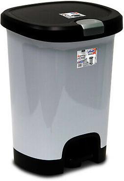 7 Gallon Step On Trash Can Kitchen Plastic Home Garbage Bin