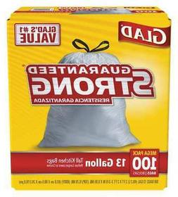 GLAD 78526 Drawstring Trash Can Liner, 13 gal., PK100