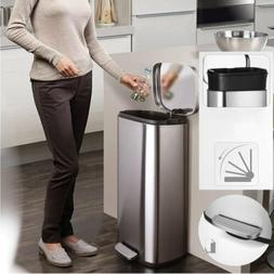 8 Gallon/30L Step Stainless-Steel Trash Can Kitchen Bathroom
