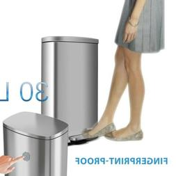 8 Gallon Kitchen Step on Trash Can Stainless Steel Garbage C