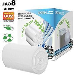 8 Gallon White Garbage Bags Kitchen Trash Bags Bathroom Plas