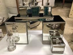 Bella Lux 8 pc Mirrored Bathroom Accessories Rhinestones You
