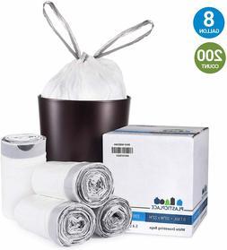 Plasticplace 8 Gallon White Drawstring Bags, 100% Prime Mate