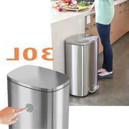 8GAL Stainless-Steel Trash Can Garbage Bin w/ Lid & Inner Bu