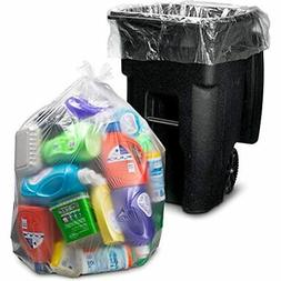95-96 Gallon Clear Trash Bags, Large Plastic Garbage 25/Coun