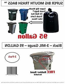 95 Gallon Super Big Mouth Trash Bags 3-Pack Plus 1 Free Rubb