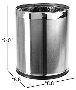 Brelso 'Invisi-Overlap' Open Top Stainless Steel Trash Can,