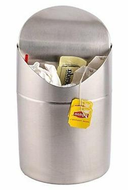 Estilo Mini Countertop Trash Can, Brushed Stainless Steel, S