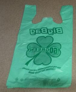 Green Plastic T-shirt Shopping Bags  - 200 Bags Biodegradabl