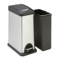 Honey-Can-Do Square Stainless Steel Trash Can with Liner, 8
