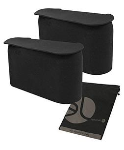 JAVOedge (2 PACK Black Small Car Trash Can With Lid, Flexibl