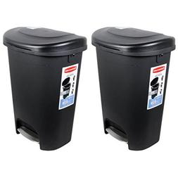 Rubbermaid Premium Step-On Trash Can, 13 Gal, Black with Met