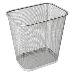 Ybmhome 2042 Steel Rectangular Mesh Trash Can, Silver