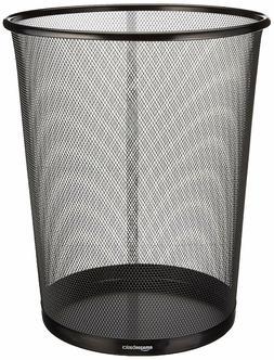 AmazonBasic Mesh Trash Can Wastebasket Black Steel 4.5Gallon