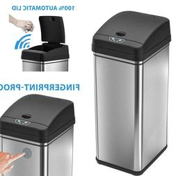 Automatic Trash Can 13 Gallon Stainless Steel with Odor-Abso