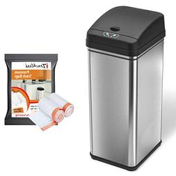 iTouchless Automatic Trash Can with 40 Trash Bags, Big Lid O