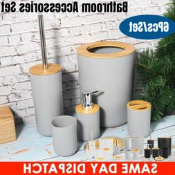 Bamboo 6x Bathroom Accessories Set Trash Can Toothbrush Hold