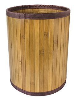 Ginsey Bamboo Waste Basket with Dark Brown Trim