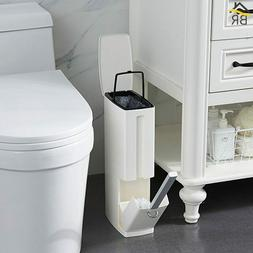 Bathroom 6L Narrow Plastic Trash Can Set w/ Built-in Tissue