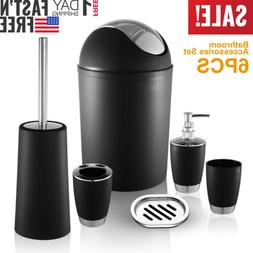 6PCS Bathroom Trash Can + Toilet Brush + Accessories Set Swi