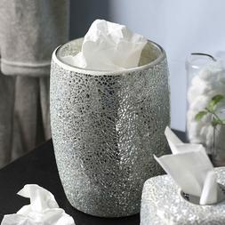 Decorative Silver Mosaic Glass Wastebasket/Trash Can -  Bath