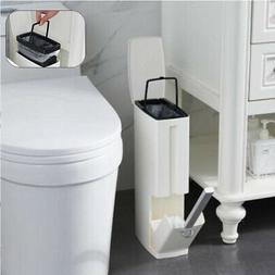 Bathroom Toilet Slim Trash Can Garbage Rubbish Bin Wastebask