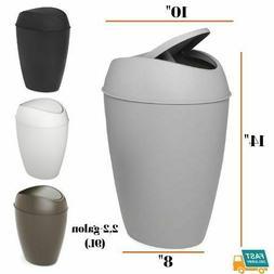 Bathroom Trash Can Swing-top Lid Plastic Garbage Office Home