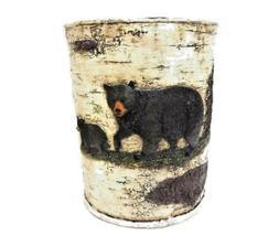 Black Bears Wastebasket Or Trash Can -Birch Bark Paint Look