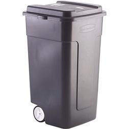 Black Industrial Strength 50-Gallon Wheeled Trashcan
