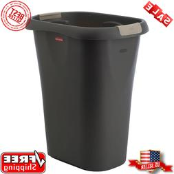 Rubbermaid Black Rectangular Kitchen Plastic Trash Can with
