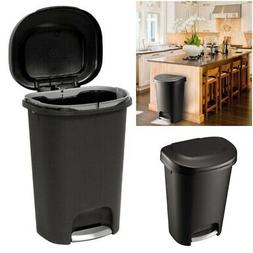 Black Step-On Trash Can Plastic Waste Bin Foot Pedal To Rais