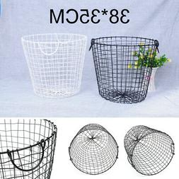 Black Trash Can Office Bedroom Garbage Waste Bin Wire Basket