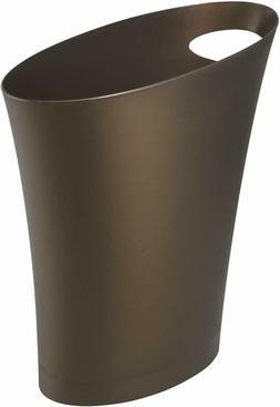 Bronze Skinny Sleek & Stylish Bathroom Trash, Small Garbage