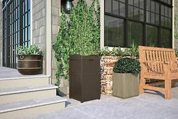 Brown Outdoor Resin Trash Can Garbage Waste Bin with Lid Pat
