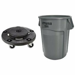 Rubbermaid Commercial Brute Trash Can WITH Dolly (Vented, 32